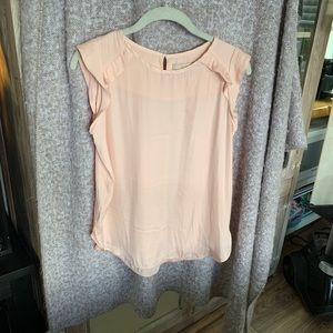 LOFT Petite Ruffle Sleeve Top Light Pink Sz Small
